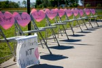 Chairs with pink hearts, Anderson, Indiana  The campaign initiated by parents at a San Francisco school sparked a nationwide movement. Each chair represents one teacher given a pink slip, raising awareness of how teacher layoffs are impacting communities.