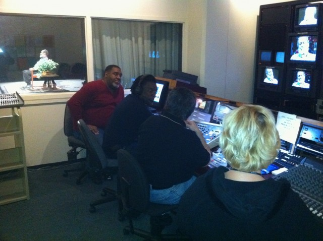 Ed, Maruwa, Joe, and Joreanne operating the control room